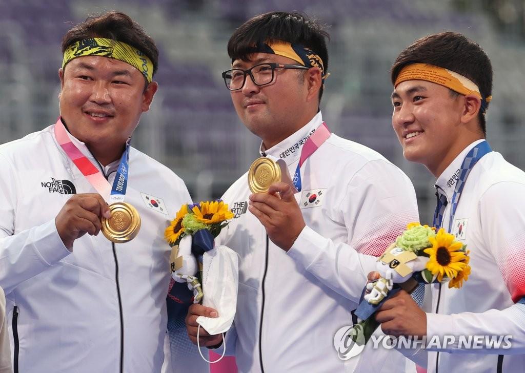 한국 양궁, 남자 단체전도 金 명중…유도 안창림 동메달
